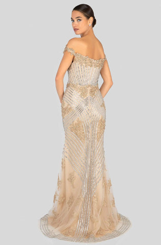 Terani Couture - 1912GL9572 Sparkling Off Shoulder Slit Evening Gown Evening Dresses 0 / Gold