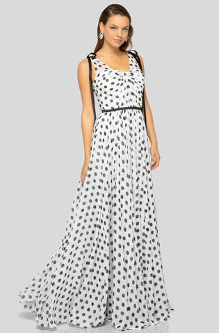 Terani Couture - 1912P8255 Polka Dot Chiffon A-line Dress