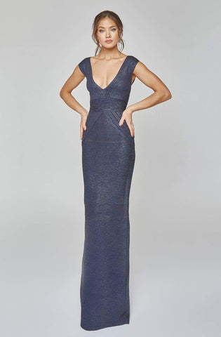 Terani Couture - 1921E0119 Deep V Neck Bandage Knit Evening Gown