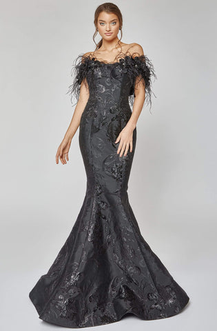 Terani Couture - 1921E0136 Feather Off Shoulder Mermaid Evening Gown