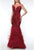 Terani Couture - 1921GL0641 Illusion Short Sleeve Feather-Fringed Gown Special Occasion Dress 0 / Red