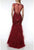 Terani Couture - 1921GL0641 Illusion Short Sleeve Feather-Fringed Gown Special Occasion Dress