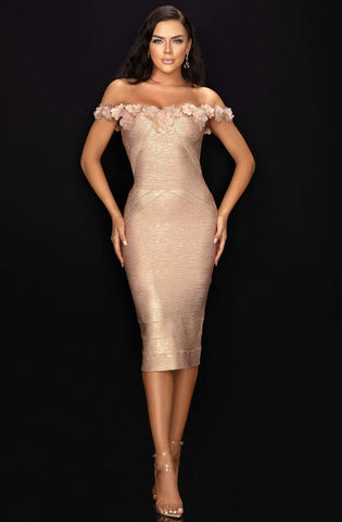 Terani Couture - 2011C2519 Floral Appliqued Off Shoulder Banded Dress Wedding Guest 0 / Champagne Gold