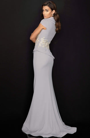 Terani Couture - 2011M2135 Cap Sleeve Surplice Collar Appliqued Gown Mother of the Bride Dresses 0 / Silver
