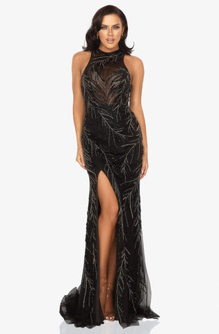 Terani Couture - 2011P1058 Sequined Illusion Gown with Slit