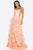 Terani Couture - 2012P1402 Strapless Ruched-Striped A-Line Gown Prom Dresses 00 / Sorbet
