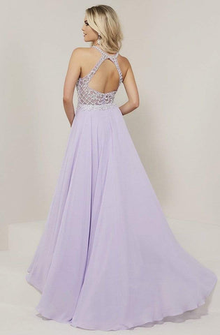 Tiffany Designs - 16337 Beaded Lattice Halter Chiffon A-Line Gown Special Occasion Dress 0 / Lilac