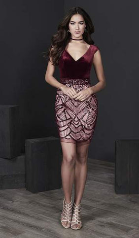 Tiffany Homecoming - Cap Sleeve Deep V-Neck Velvet Dress 27222 - 1 pc Wine/Nude in Size 6 Available CCSALE 6 / Wine/Nude