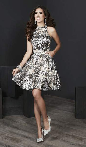 Tiffany Homecoming - Floral Sequined Halter Cocktail Dress 27217 - 1 pc Platinum/Nude In Size 12 Available CCSALE 12 / Platinum/Nude