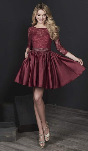 Tiffany Homecoming - Lace Quarter Length Sleeves A-Line Cocktail Dress 27202 - 1 pc Burgundy In Size 2 Available CCSALE 2 / Burgundy