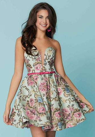 Tiffany Homecoming - Strapless Printed Plunging Sweetheart A-line Dress 27168 - 1 pc Fuchsia/Multi-Color In Size 6 Available CCSALE 6 / Fuchsia/Multi-Color