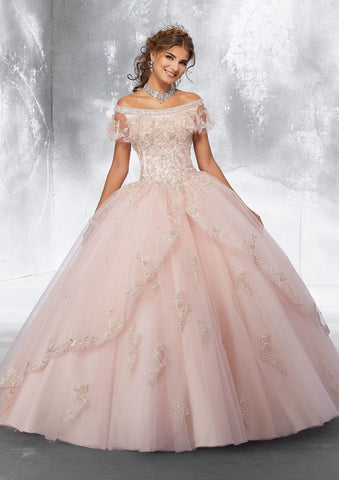 Vizcaya by Mori Lee - 89181 Flounced Embroidered Off Shoulder Ballgown