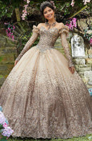 Strapless Long Sleeves Fitted Crystal Pleated Ruched Beaded Jeweled Neck Sweetheart Basque Waistline Quinceanera Dress