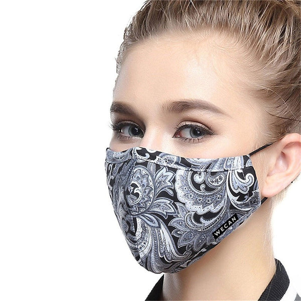 Women's Fabric Face Mask + Activated Filters - Black