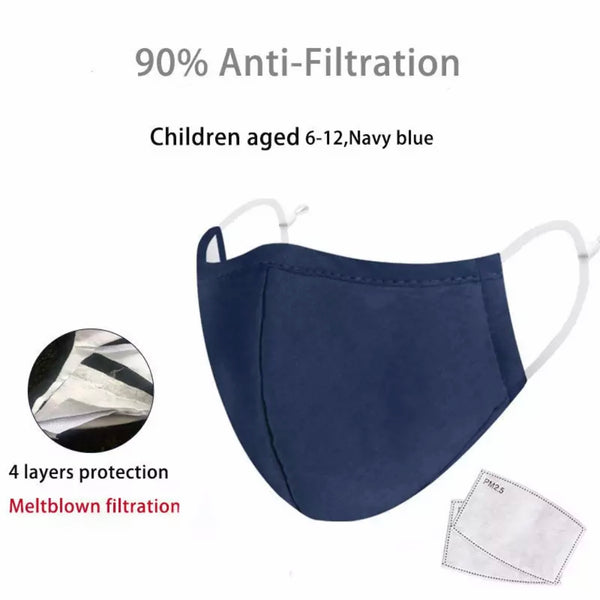 Children's Fabric Face Mask + Activated Filters - Blue