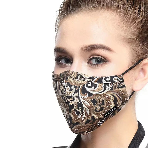 Women's Fabric Face Mask + Activated Filters - Brown