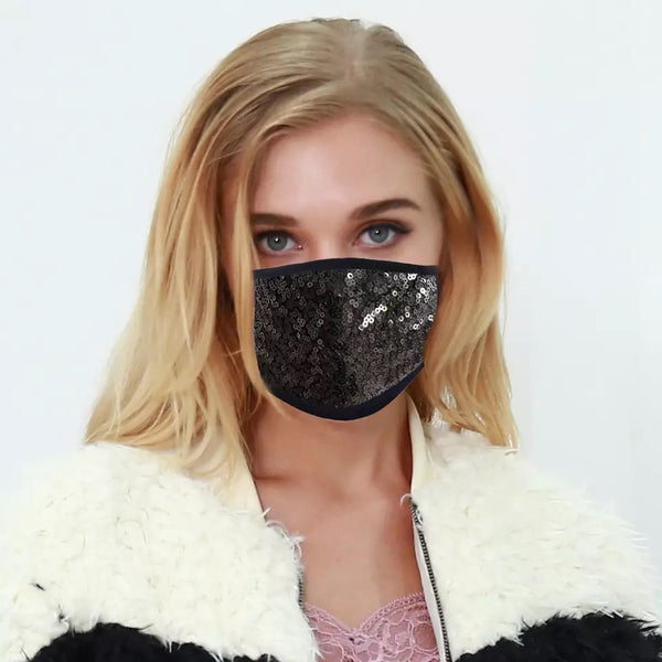 Sequinned Reusable Face Mask - Black