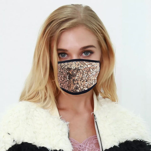 Sequinned Reusable Face Mask - Gold
