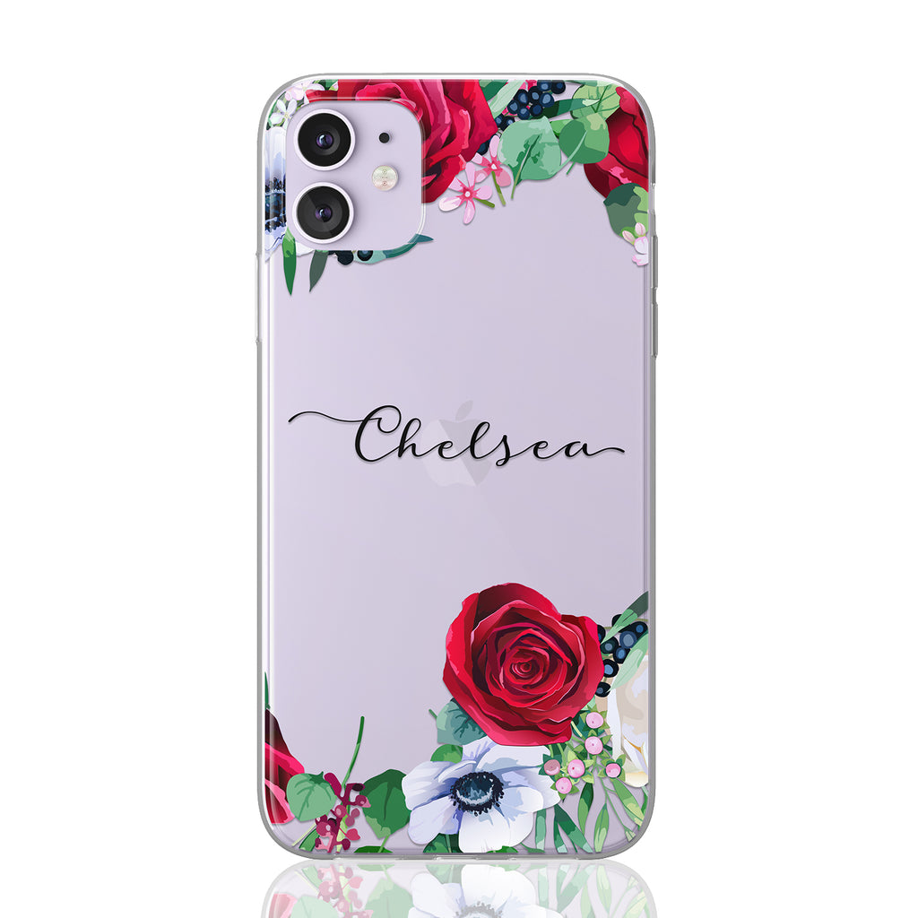 Custom Text Chelsea Font Floral Clear Case