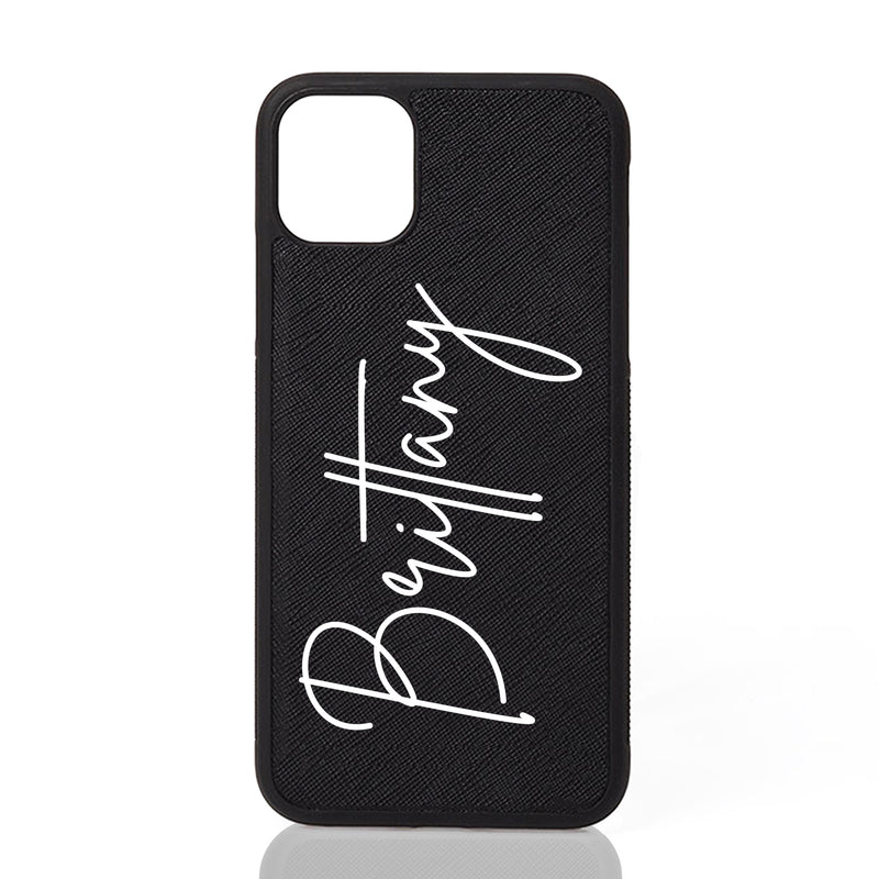 Custom Personalised Leather iPhone Case with Signature Script Font