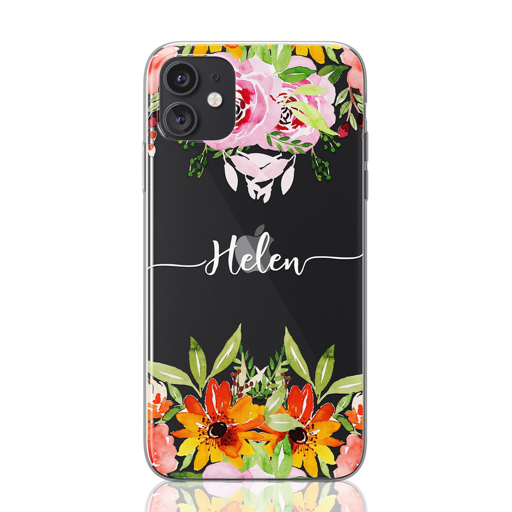 Custom Text Helen Font Floral Clear Case