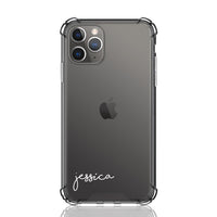 Custom Personalised Anti-Impact iPhone Clear Case ~ Jessica Script Font