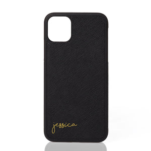 Custom Personalised Saffiano Leather iPhone Case with Your Name