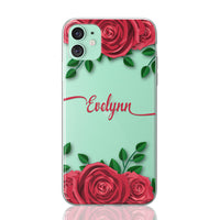 Custom Personalised Roses Flower Floral iPhone Clear Case
