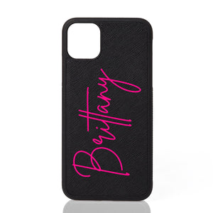 Brittany Font Leather iPhone Case