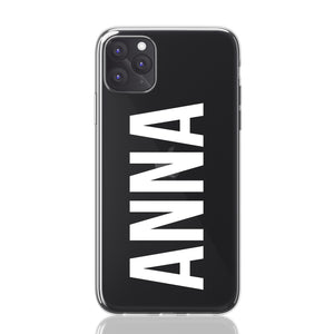 Custom Personalised Clear Hybrid iPhone Case - Anna Block Font