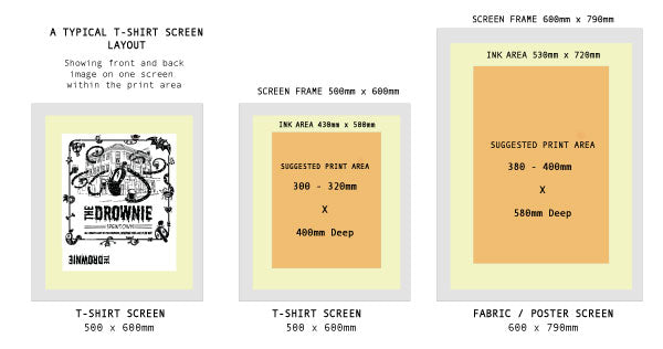 Layout template for films on screens available for exposure and screen print.