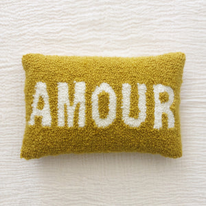 Coussin rectangulaire Punch Needle - AMOUR - Jaune