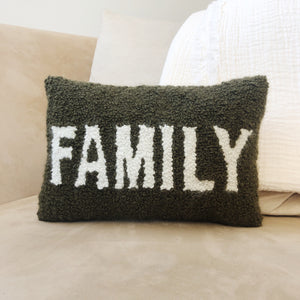 Coussin rectangulaire Punch Needle - FAMILY - Kaki