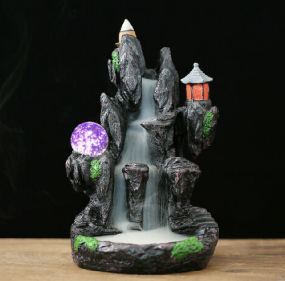 LED Resin Lighthouse in Mountain Waterfall Backflow Incense Burner