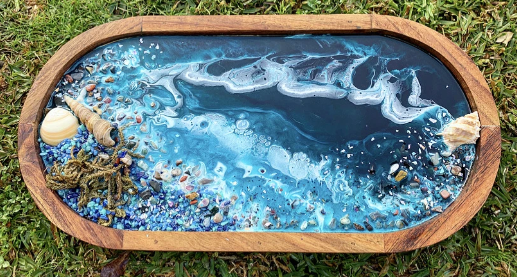 Ocean vibes resin and acacia wood serving tray with lepidolite