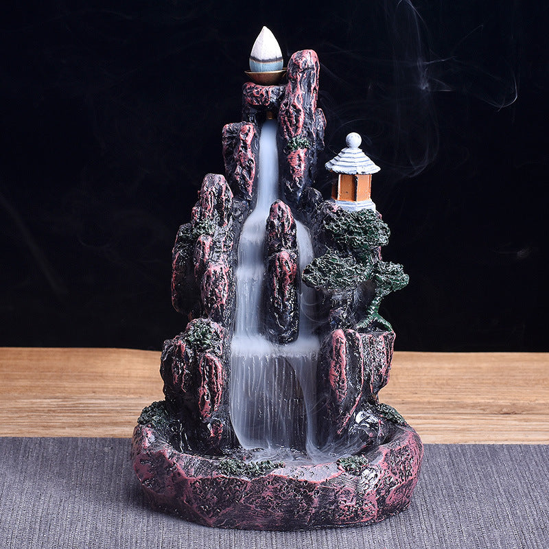 Resin Lighthouse in Mountain Waterfall Backflow Incense Burner
