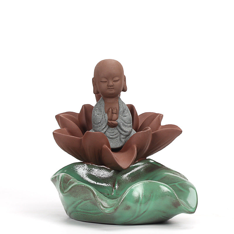 EXPRESS POST Newcastle Stock - Little Monk on Lotus Backflow & Stick Incense Burner