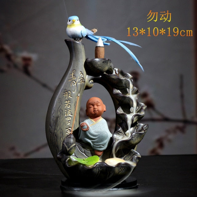 Buddha with Bird Backflow Incense Burner - Varous Styles