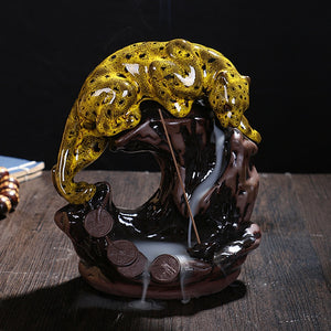 Gold Leopard Backflow Incense Burner plus Free 50 cones