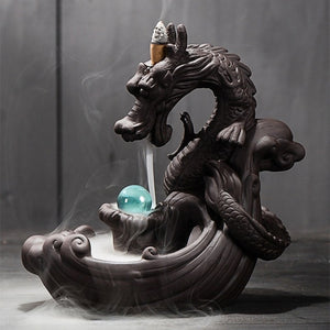 Ceramic Dragon with Crystal Ball Backflow Incense Burner