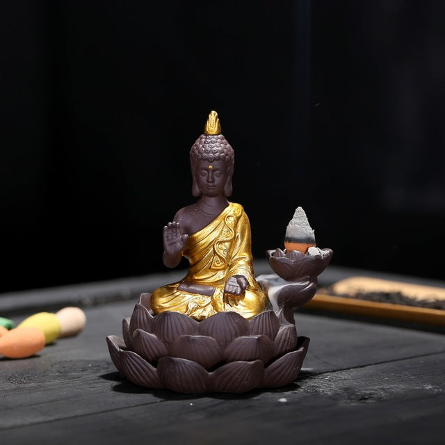 Golden Buddha Backflow Incense Burner - Various Colours