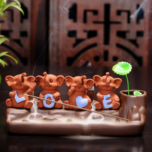 Newcastle Stock - Express Post - Four Little Elephants Backflow Incense Burner