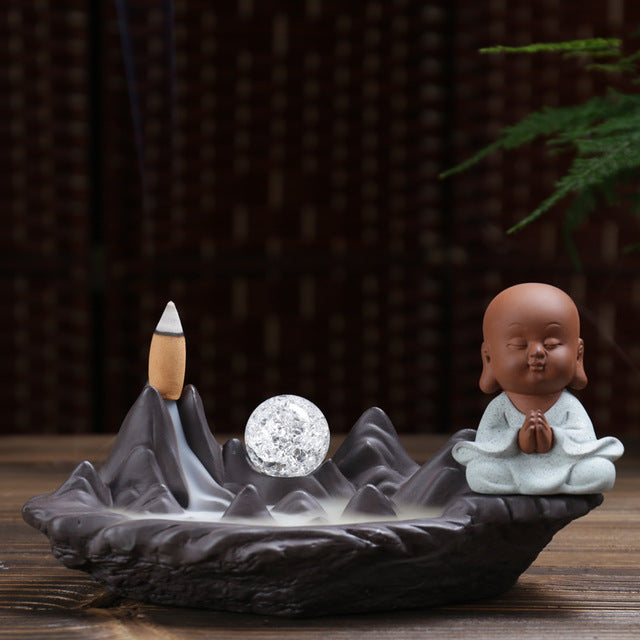 Little Monk with Led Crystal Ball Backflow Incense Burner - Various Styles