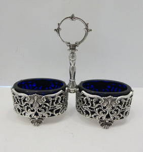 ITALIAN 925 STERLING SILVER & GLASS UNIQUE SHELL LEAF ORNATE DOUBLE SALT HOLDER