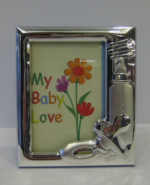 ITALIAN 925 SILVER BABY BLUE BOTTLE PACIFIER KIDS PICTURE FRAME