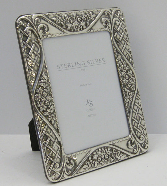 FINE ITALIAN 925 STERLING SILVER HAND EMBOSSED FLORAL WOVEN 7 X 9 PICTURE FRAME
