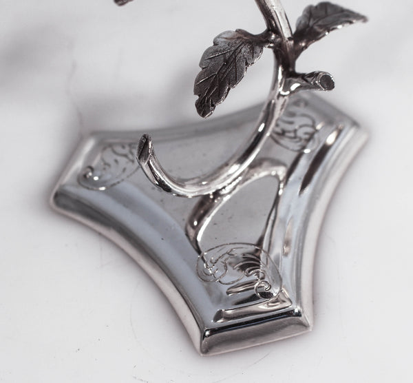 925 STERLING SILVER HANDMADE COVERED ROSE SHAPED GARLAND DESIGN CUP & TRAY