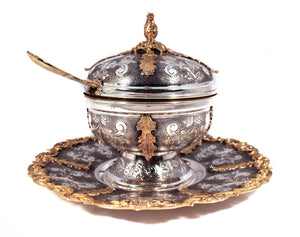 925 STERLING SILVER/GOLD HANDMADE CHASED GARLAND DESIGN LEAF APPLIQUE HONEY DISH & TRAY