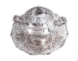 925 STERLING SILVER CHASED GARLAND CUT OUT  HONEY DISH WITH GLASS INSERT & TRAY