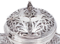 FINE 925 STERLING SILVER HANDMADE OPEN GARLAND CUT OUT HONEY DISH , SPOON & TRAY